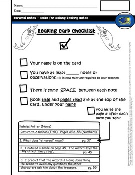 Guide for Reading Note Cards (Narhwal Notes) Handouts and BONUS Clip-Art!
