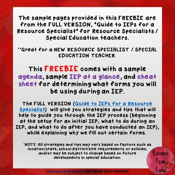 Special Education: Guide to IEPs for Resource Specialists - FREEBIE