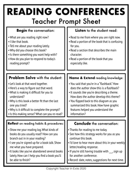 Guide to Reading Conferences: Teacher Prompt Sheet, Sign-Up Sheet, Mini-lesson