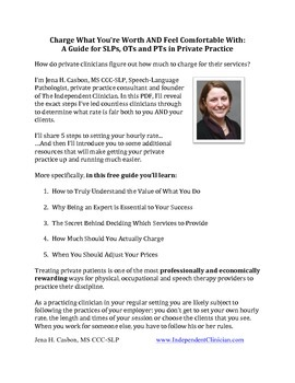 Guide to Setting Your Private Therapy Rate (for Speech Therapy Providers)