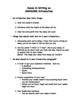 Guide to Writing an Awesome Introduction