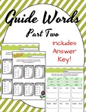 Guide words. Worksheets. Review. Part Two