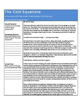 Guided Analysis: The Cold Equations (LAFS and CCSS)