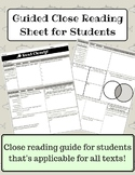Guided Close Reading Sheet
