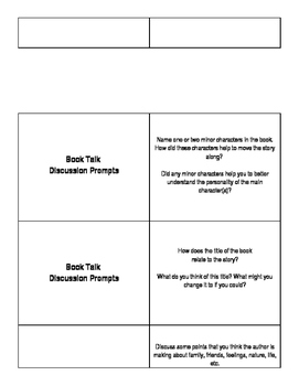 Guided Discussion (Book Talk) Cards