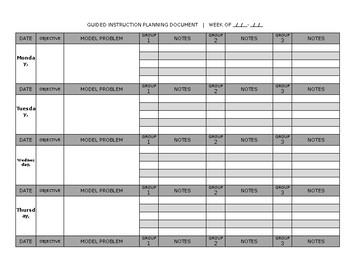 Guided Instruction Planning Template