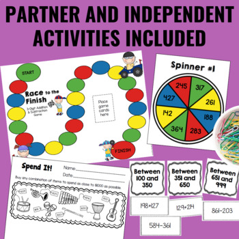 Guided Math: 3-Digit Addition and Subtraction Centers
