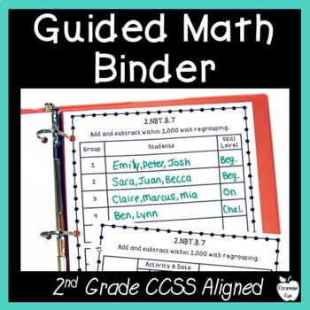 Guided Math Binder Planning & Recording Sheets ~ 2nd Grade CCSS