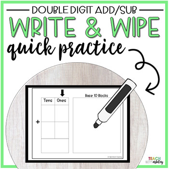 Guided Math Write & Wipe Double Digit Addition & Subtraction