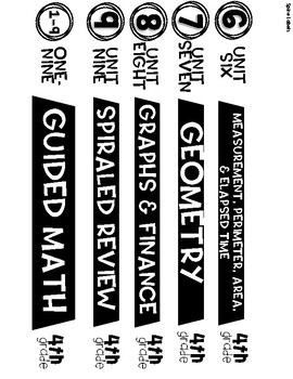 Guided Math Fourth Grade Spine Labels