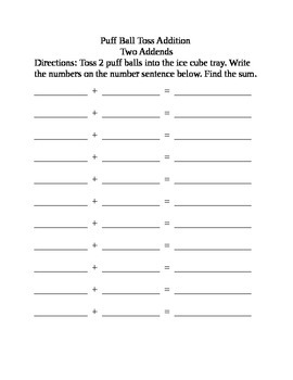 Guided Math Game-Ice Cube Tray Math Recording Sheets
