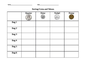 Guided Math Game-Sorting Coins