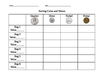 Guided Math Game-Sorting Coins and Finding Values