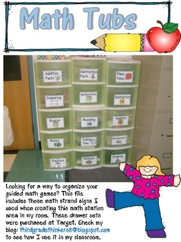 Guided Math Game Tubs Signs