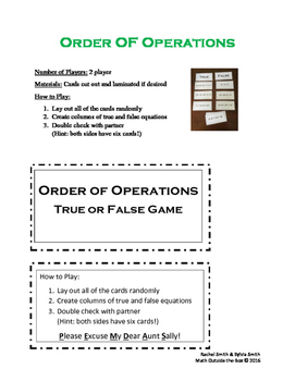 Guided Math Games -  Order of Operations