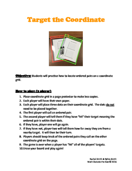 Guided Math Games -  Target the Coordinate