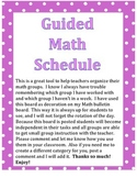 Guided Math Group Schedule