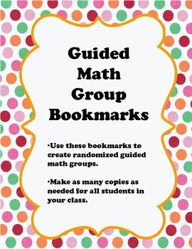 Guided Math Groups Bookmarks