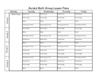 Guided Math Groups Editable Lesson Plan document (Excel)