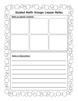 Guided Math Groups Lesson Planner
