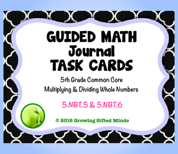 Guided Math Journal Task Cards