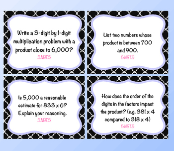 5th Grade Make 'Em Think Basic Operations Guided Math Journal Task Cards