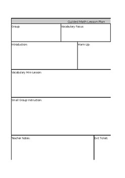Guided Math Lesson Plan