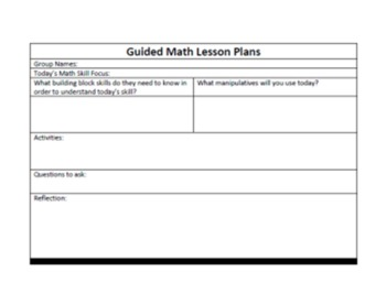 Guided Math Lesson Plan Form