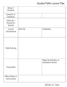 Guided math lesson plan template by pam tara teachers for Singapore math lesson plan template