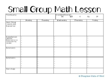 Guided Math Lesson Plan Template By Bluegrass State Of Mind TpT - Templates for lesson plans