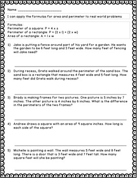 Guided Math Lesson Plans for Measurement: Perimeter & Area