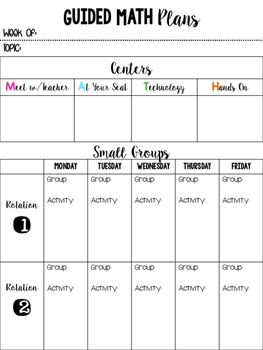 Guided Math Lesson Template