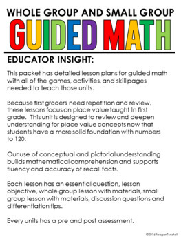 Guided Math Lessons: First Grade Unit 9 Place Value Prep for 2nd Grade