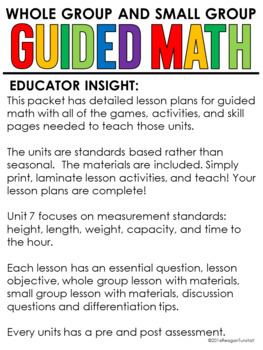 Guided Math Kindergarten Time, Data, and Measurement