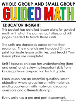 Guided Math Lessons: Kindergarten Unit 9 Base Ten and Mixed Review