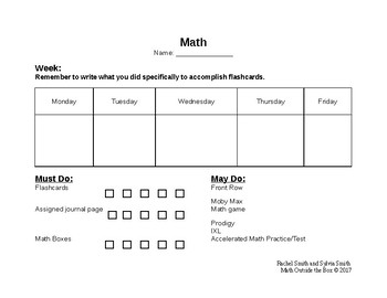 Guided Math Must Do/May Do