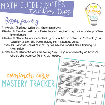 Guided Math Notes Growing Bundle for Fifth Grade