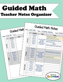 Guided Math Notes Organizer