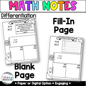 Guided Math Notes for Math Notebook- Unit 1 Place Value