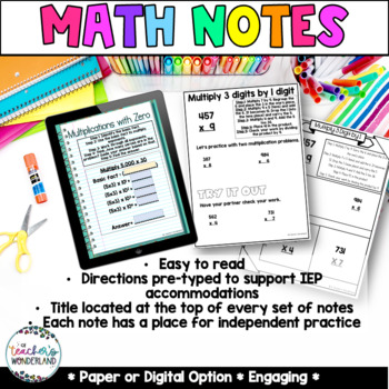 Unit 1-Place Value Guided Math Notes for Math Notebook- Grade 5