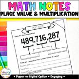 Grade 5-Place Value Math Notes [Paper & Digital Notes]