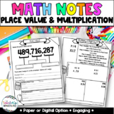 Grade 5-Unit 1-Place Value Guided Math Notes for Math Notebook
