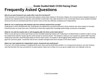 Blank Guided Math CCSS Pacing Chart