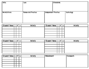 Guided Math Plan Page