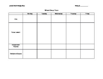 Guided Math Planning Template