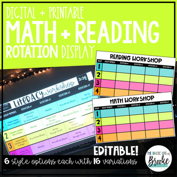 Guided Math + Reading Rotation Management Display | Printable + Digital!