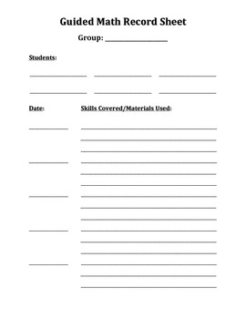 Guided Math Record Sheet