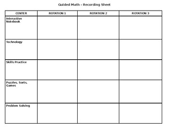 Guided Math Recording Sheet