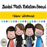 Guided Math Rotation Board: Rainbow Themed
