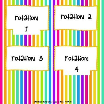 Guided Math Rotation Board: Rainbow Themed